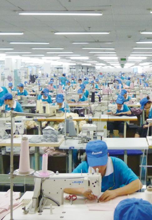 中国の縫製工場