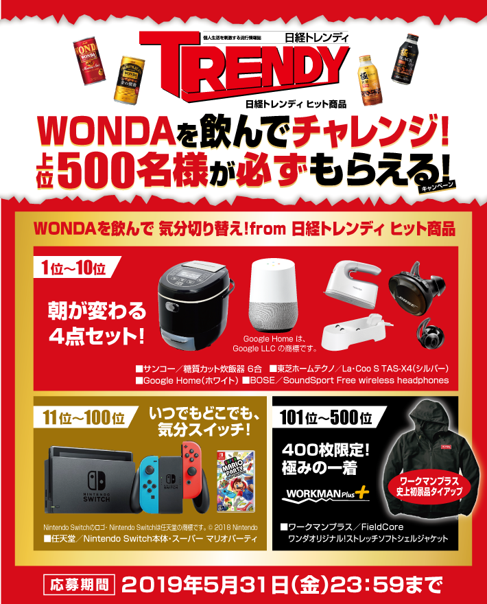 アサヒ飲料様のコーヒー「WONDA」のキャンペーン景品にワークマンプラスの商品が選ばれました!